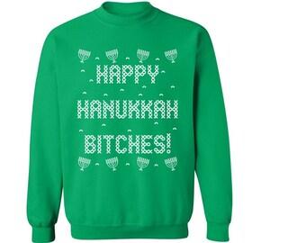 Happy hanukkah Jewish Holiday Unisex Crewneck Sweatshirt This is how we Jew it Dreidel Sevivon Menorah Shamash Star of David T-shirt u7pxW2b