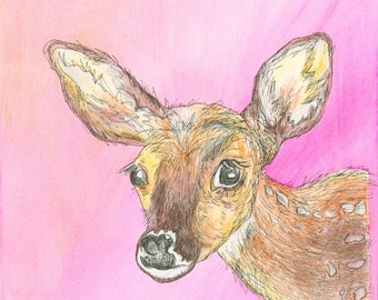 Oh Deer (original watercolor and ink painting)