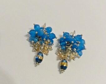 Cat eye earrings, blue and gold earrings, cluster earrings