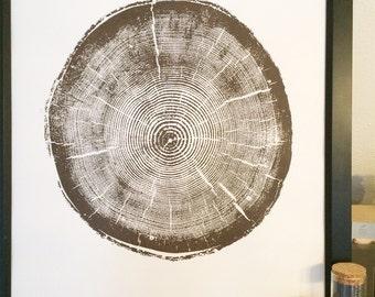 Big Cottonwood, Utah Canyon, Cottonwood Canyon Tree Ring Print, Utah Pine, Tree Ring Print, Brown Ink, Cottonwood Utah, Real tree stump art