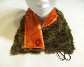 Panne velvet and faux fur neck scarf