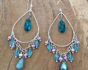 Apatite Earrings | Labradorite Earrings | Pink Mystic Sapphire Earrings | Paraiba Blue Quartz | Chandelier Earrings