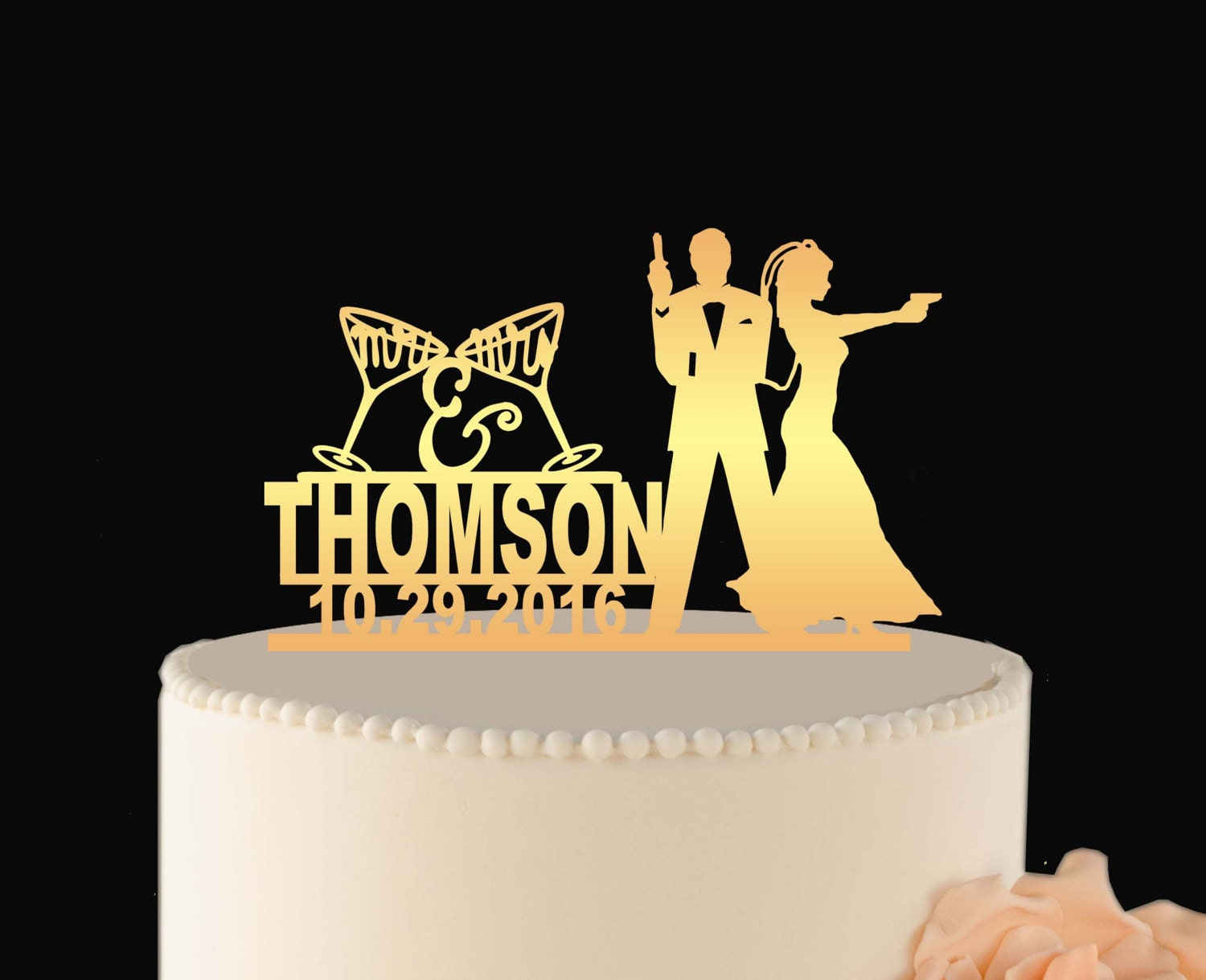 JAMES BOND Gold Wedding Cake Topper GOLD Couple name topper