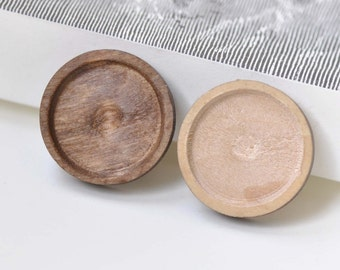 Round Wooden Pendant Tray Bezel Setting Blanks Match 20mm Cabochon Set of 10