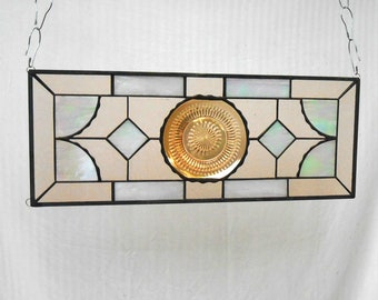 Stained Glass Panel with Vintage Jeannette Anniversary Pattern Depression Glass Plate, Stained Glass Transom, Valance, Original Home Decor