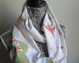 Vintage 100 Acre Woods Map Winnie The Pooh Infinity Scarf