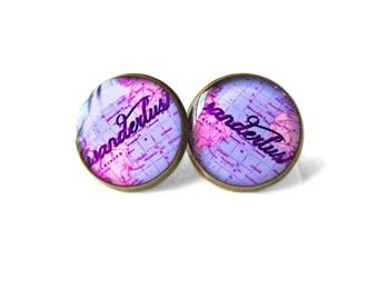 Purple World Map Wanderlust Earrings, Bohemian Jewelry, Vintage World Globe Map Jewelry, Travel Loving World Map Gifts Bohemian Earrings