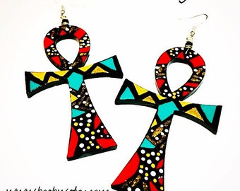 Ankh Royalty Earrings (Hand Painted Earrings) Afrocentric (Natural Hair Earrings) Wearable Art