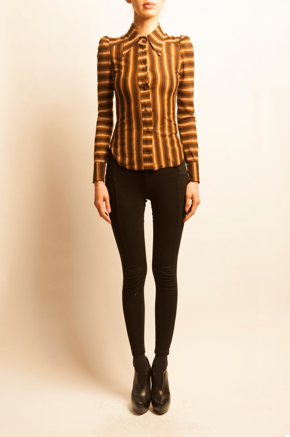 BIBA 1970's stripes motif shirt top