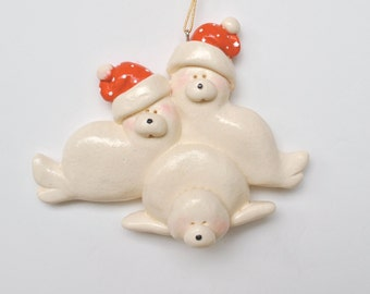 Retiring Design...Personalized Seal Family of 3 Christmas Ornament/Seals/Fsmily