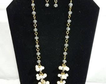 Crystal,White,Gold Pearl necklace & earring set