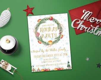 Printable Christmas party invitation template, Printable Christmas Invite, Christmas Party Invitation Christmas Invite, Xmas invitations diy