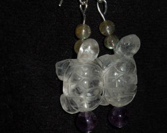Crystal turtle earrings with amazonite