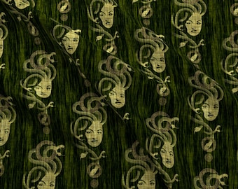 Myths Fabric - Medusa By Thecalvarium - Greek Myth Antiquity Mythology Snakes Gorgon Quilting Cotton Fabric By The Yard With Spoonflower