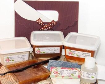 Sugaring Hair Removal Set, Oatmeal Scrub, Vanilla Brown Sugar Scrub - thinner hair, Body Sugaring, natural sugaring, natural sugar scrub