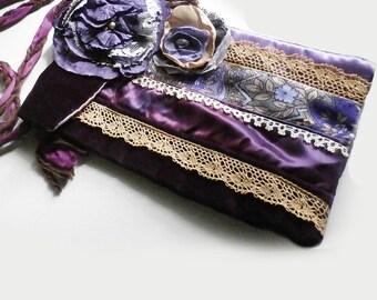 Patchwork Purse, Purple, Velvet, Satins, Lace, Small Embellished  Boho Festival, Dance, Shoulder Bag