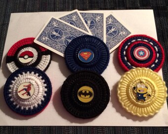Card Holder, playing cards, Superhero, Cartoon, Enamel Charms