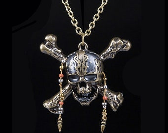 Pendant gift. Pirates of the Caribbean 5 Necklace Dead Pirate Skull Capitan Pendant with Beads