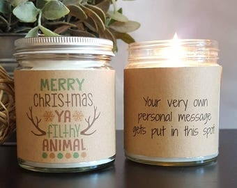 Merry Christmas Scented Soy Candle, Soy Candle Gift, hostess gift, Personalized Candle, scented candle, Christmas Candle, Christmas Gift