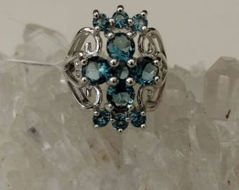 Blue Topaz Party Ring Size 6 1/2