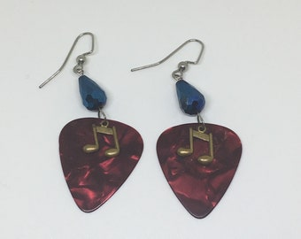 Red Guitar Pick Drop Earrings