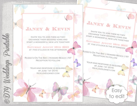 etsy wedding invitation template butterfly invitation template printable wedding invitations 3940