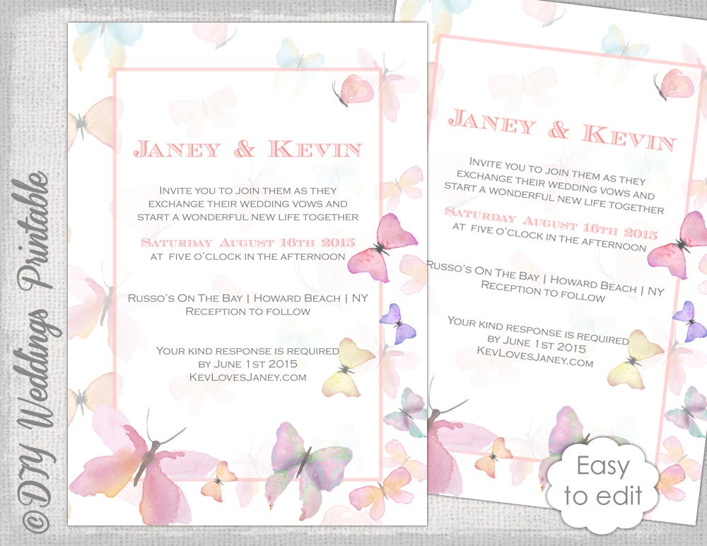 Butterfly invitation template Printable wedding invitations