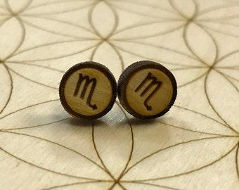 Mini Zodiac Earrings - Scorpio Earrings - Wood Earrings - Birch - Astrology