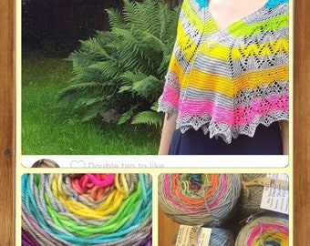 Ready to Ship - Electric Eleven Rainbow Self Stripe Shawl