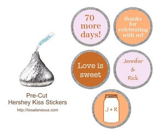 88 Pre-Cut Hershey Kiss Stickers  - Wedding Shower Favor - Pink and Peach Rustic Bridal Shower - Stickers for Hershey Kisses