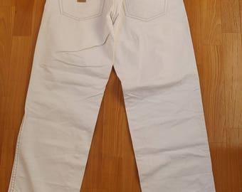 Pelle Pelle jeans, white baggy jeans vintage 90s hip-hop clothing, 1990s hip hop shirt, OG, gangsta rap, size W 32