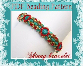 DIY Beading pattern Skinny bracelet with superDuo or Twin beads / PDF tutorial with detailed instructions, images and diagrams