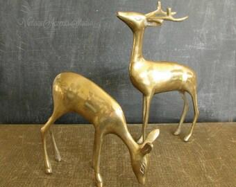 Pair Vintage Brass Deer Figurines | Large Buck and Grazing Doe Statues | Reindeer | Mid Century Christmas Decor
