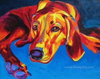 Redbone Coonhound, Pet Portrait, DawgArt, Dog Art, Pet Portrait Artist, Colorful Pet Portrait, Coonhound Art, Art Prints