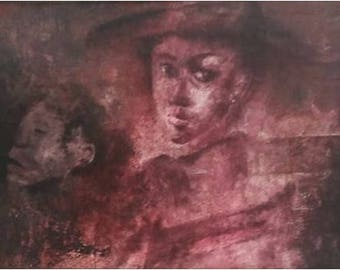 woman with child art print decoration