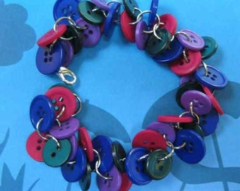Fun and Funky Buttoned Bracelet Cool Blue Purple Burgundy and Teal