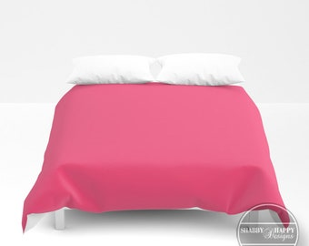 Solid Color BUBBLE GUM / Choice of Duvet Cover or Comforter / Bedding Minimalist Modern Basic Art Sizes Twin, XL Twin, Full, Queen, & King