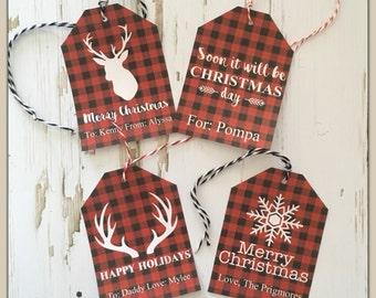 DIGITAL diy Editable Buffalo Check Lumberjack Gift Tags Instant Download Christmas Holiday PDF