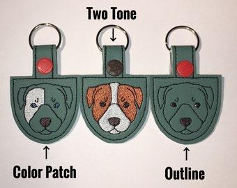 Pitbull Snap Tab Embroidery Design