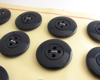 "12 big navy blue buttons, vintage trench coat buttons on cards, 28 mm / 1 1/8"" across"