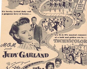The Harvey Girls 1946 Original Vintage Movie Ad with Judy Garland and John Hodiak