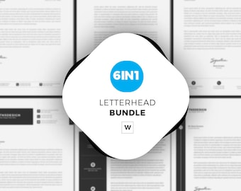 Letterhead Template for Word   6 in 1 Business Lettterhead Bundle   Clean & Professional Letterhead   Instant Download   Stationary Designs