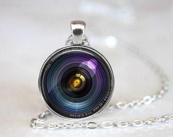 Camera Lens 2 Glass Pendant, Photo Glass Necklace, Glass Keychain, Glass Jewelry