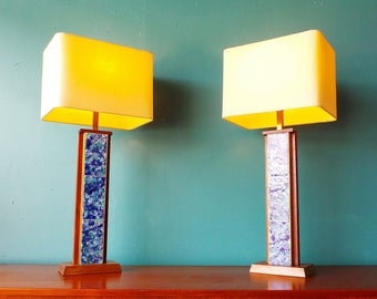 FREE SHIPPING pair mid century modern Harris Strong blue tile walnut lamps with new shades