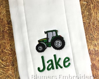 Monogrammed Embroidered Tractor T Shirt, Bodysuit or Burp Cloth; Boys Girls Kids Personalized Monogram Shower Gift John Deere Farm Tractor