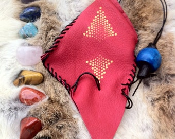 Tumbled Stone Chakra Leather Pouch 8 Crystals: Healer's Gold, Extra Quality Lapis Lazuli, Red Tiger Jasper, Gold Tiger Eye, Red Tiger Jasper