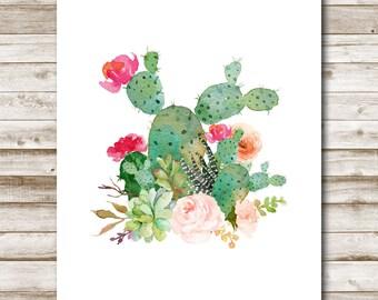 Floral Succulent Bouquet Printable Cactus Wall Art Southwestern Floral Decor Cacti Art  4x6 5x7 8x10 11x14 16x20 Photography Prop