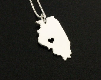 Illinois necklace Personalized Engrave sterling silver i love Illinois state necklace with heart comes with Box chain - Hometown Jewelry