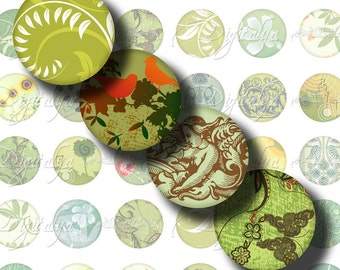 Shades of Green (1)  à la Mode - Digital Collage Sheet - Circles 1inch - 25mm or any smaller size available - see promo offer