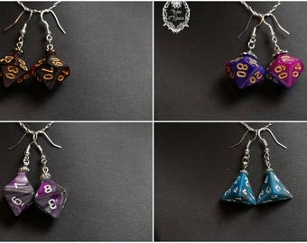 Dice - Collection RPG - D10, D4 D8 - Silver 925 - Different color earrings